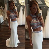 New Fashion Two Piece Prom Dress Halter Beading Prom Dress Evening Party Long Mermaid  Prom Dress Free Shipping