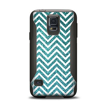 The Teal & White  Sharp Glitter Print Chevron Samsung Galaxy S5 Otterbox Commuter Case Skin Set