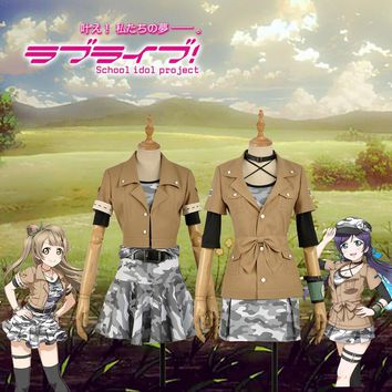 Love Live! Kotori Minami Nozomi Tojo Cosplay Costume Custom Activity Card Army Battle Camouflage Dress Khaki Jacket Clothing
