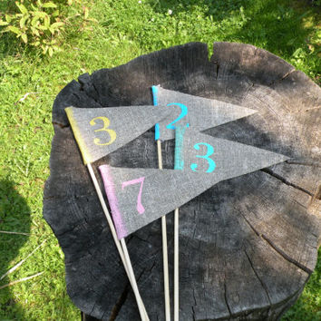 Table numbers,  rustic table numbers, pink, weddings  table decoration , burlap,  pink, blue, green, mint, yellow, wedding table number,