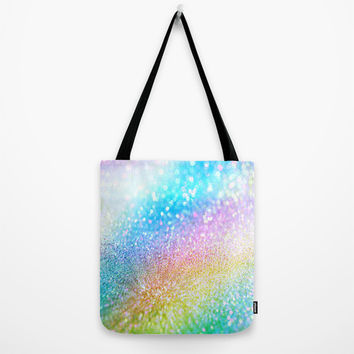rainbow glitter Tote Bag by Haroulita