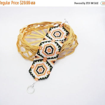 SALE boxo bracelet Ethnic Long Beaded bracelet  black white orange Embroidery bracelet.