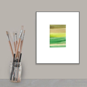 Original Watercolor Painting - emerald green black brown grey - ombre gradient - forest woodland - modern minimal - abstract art