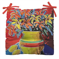 Renie Britenbucher Stylized Lillies And Lemons Outdoor Seat Cushion