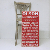 Custom Lake Rules for the Lake House, Beach House or Cottage. Choose Your Rules. Choose Your Color. Hand-painted Wood Sign.