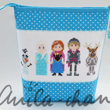 Frozen Cross stitch Cosmetic Bag Let It Go Anna, Elsa, Olaf, Kristoff Polka dot Blue Zipper Pouch