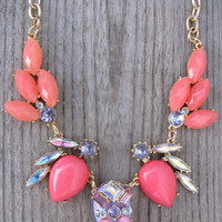 Tribal Inspired Necklace - Coral