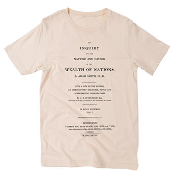 Adam Smith Wealth of Nations Great Books Graphic T-Shirt