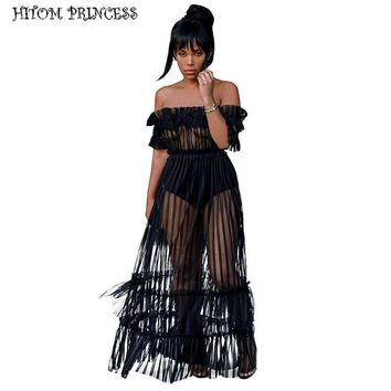 HITOM PRINCESS Off Shoulder Maxi Dress Sheer Mesh Long Women Dresses Summer Dress See Through Frill Night Club Sexy Party Dress