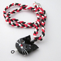 Black Cat Pendant, Kitty Necklace, Dimensional,  Lamp Work Bead, Cat Bead Head, Hand Braided Cord, Red White, Cute Jewelry, Girl's Birthday