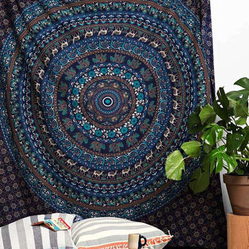 Elephant Mandala Tapestry in blue Color Wall Decor Picnic Sheet Beach Sheet Boho Tapestry Tapestry Wall hanging