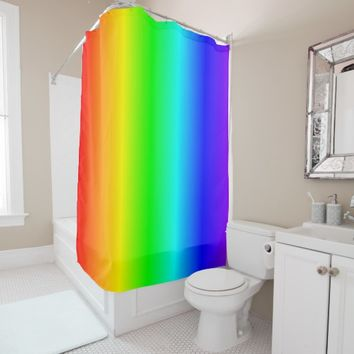 Happy Rainbow Colors Gradient Bright Shower Curtain