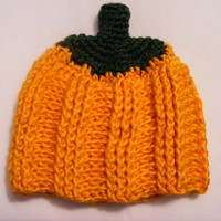 Pumpkin Crochet Ribbed and Textured Baby Hat Newborn Photo Prop Perfect for Halloween Fall Thanksgiving Sizes Newborn 0-3 Month or 3-6 Month