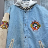 Vtg Disney 1928 Mickey Mouse FIRST Class  embroidered Denim Hooded Bomber  Letterman Jacket 1990 sz  large