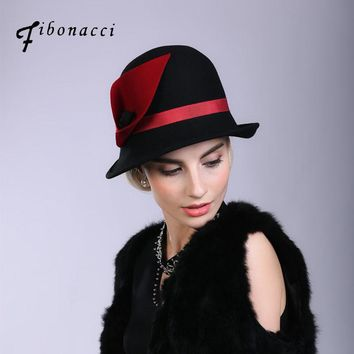 Fibonacci Fedoras Wool Felt Hat Female Irregular Flanging Floral Dome Fedora Hats for Women