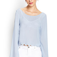 FOREVER 21 Embroidered Floral Woven Top Blue Small