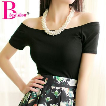 New 2016 Summer Fashion Sexy Off The Shoulder Tops For Women Casual Short Sleeve Cotton T-shirts Black White Red Gray Blue Color