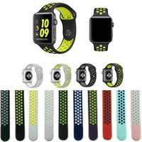 Newest Flexible Breathable Silicone Band for Apple Watch Sports Series 2 42MM 38MM L M Rubber Watchband