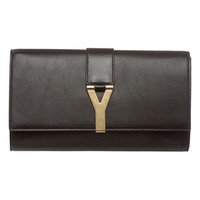 Saint Laurent Black Leather 'Y' Clutch