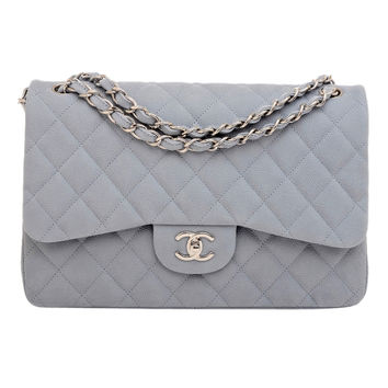 Chanel Pastel Blue Quilted Caviar Jumbo Classic 2.55 Double Flap Bag
