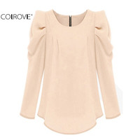 COLROVE Fashion Brand Designer Women Clothes Kawaii Ethnic Cute Casual Long Puff Sleeve Zipper Round Neck Office Laides Blouse