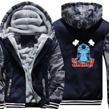 Lilo Stitch Jacket camouflage Hoodie Winter Casual Super Warm Coat Thicken Zipper Hooded Sweatshirts Street wear