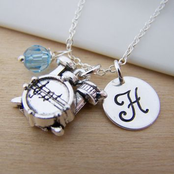 Drums Music Charm Swarovski Birthstone Initial Personalized Sterling Silver Necklace / Gift for Her