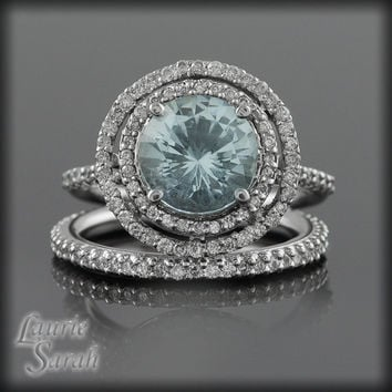 Round Aquamarine and Diamond Double Halo Ring Wedding Set - LS1531