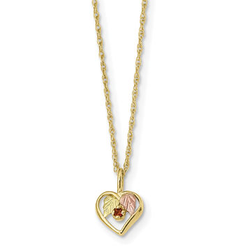 10k Tri-Color Black Hills Gold Heart Garnet Necklace 10BH723