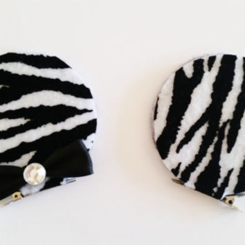 Minnie Mouse Ears Hair Clips, Black and White Zebra Print Minnie Ears, Minnie Costume Accessory, Minnie Hair bows