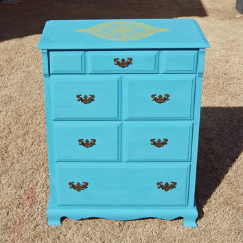 Blue Refinished Vintage Dresser