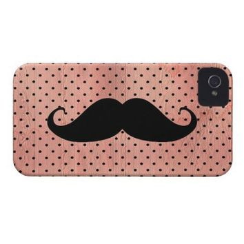 Funny Mustache On Cute Pink Polka Dot Background Id Iphone 4 Cover from Zazzle.com