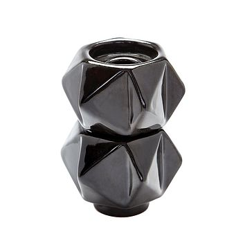 Small Ceramic Star Candle Holders In Black - Set of 2