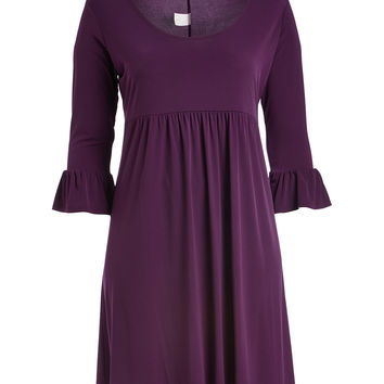 Eggplant Empire-Waist Dress - Plus