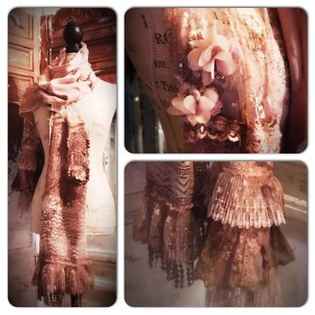 Brown lace gypsy spell long scarf, fall lace n crochet wrap, True Rebel Clothing