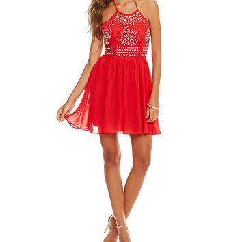 Masquerade Halter Bead Design Party Dress | Dillards