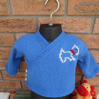 Hand Knitted Baby Cardigan, Baby Cardigan with Embroidery Dog, Baby Jumper, Baby Sweter, Blue Baby Cardigan