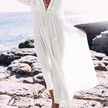 White Lace Drawstring Lace-up Flowy Tassel Deep V-neck Las Vegas Bohemian Maxi Dress