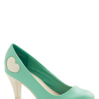 ModCloth Darling Follow My Heart Heel in Mint