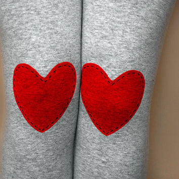 Red heart patched leggings tights in grey by NetieArt on Etsy