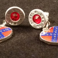 40 Caliber Aluminum Stud Dangle Earrings With Confederate heart flag charm Swarovski crystals (July)