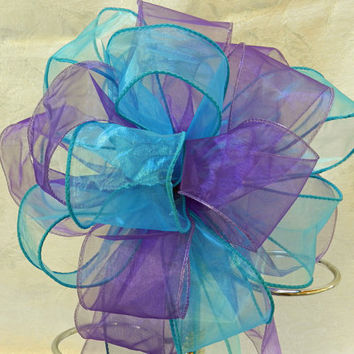 Purple and Teal Wedding/ Pew Bows set of 10