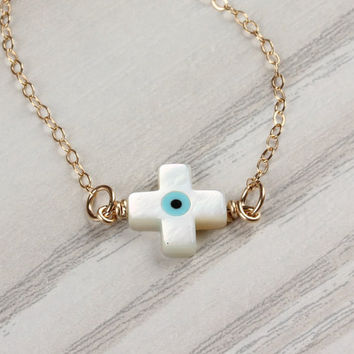 "Evil eye cross necklace, sideways cross necklace, protection necklace, evil eye necklace, tiny evil eye necklace, tiny necklace, ""Harpina"""