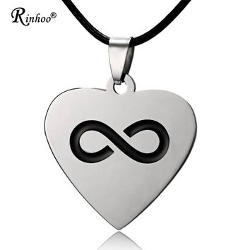 Stainless Steel Engraved Custom Infinite Heart Love Necklace Pandant Chain Jewelry For Men Women Father Mother Birthday Gift
