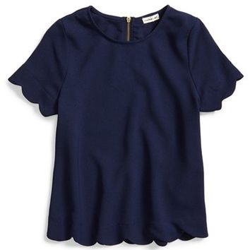 Girl's Monteau Couture Scalloped Crepe Top,