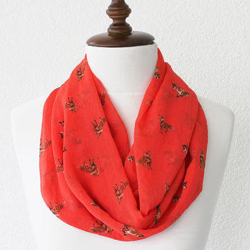 NEW Fox Infinity Scarf - Loop Scarf - Circle Scarf - Cowl Scarf - Soft and Lightweight