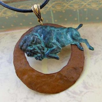 Cowgirl necklace - Buffalo necklace - patina bison leather cord necklace - Western bohemian jewelry