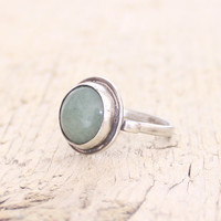 Green stone ring aventurine sterling silver ring statement ring