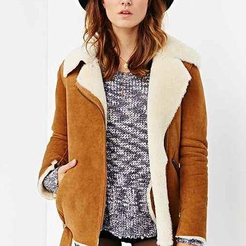 Just Female Chin Shearling Jacket- Brown