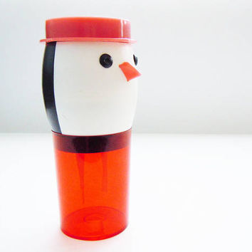 Russian vintage TOY MIXER PENGUIN. Rarest Soviet toy from 80s. Plastic toy mixer. Cocktail shaker. Cocktail whip. Gift for kids. Home decor.